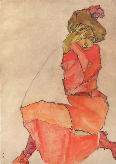 Schiele, Egon: Kneeling Female in Orange-Red Dress. Fine Art Print/Poster. Sizes: A4/A3/A2/A1 (003685)